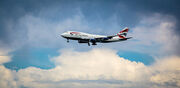 British Airways approaches SFO with a dramatic cloud backdrop