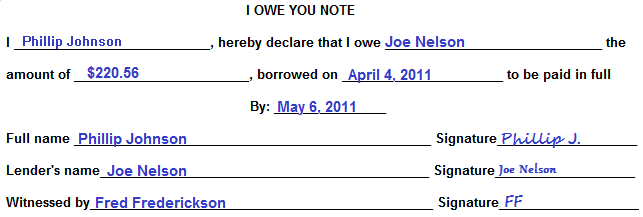 How to write an i owe you