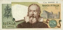 Italian 2000 lira banknote obverse, First Series