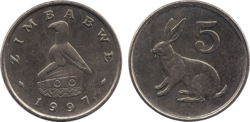 Zimbabwe 5 cents 1997
