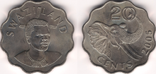 Swaziland 20 cents 2005