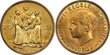 Romanian 20 lei 1930 Mihai