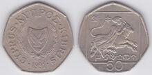 Cyprus 50 cents 1991