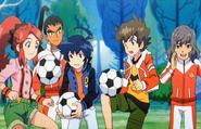 Ban Hiro and Ran playing Soccer