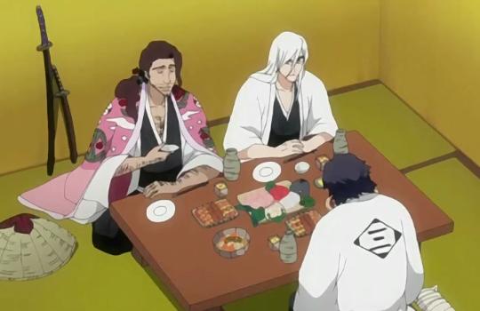 File:Ukitake, Kyoraku, and Amagai drinking.png
