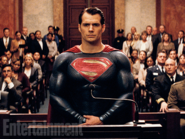 Superman stands before the court