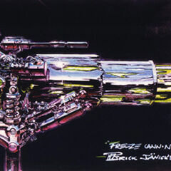 Concept art for Mr. Freeze's truck cannon.