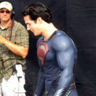 Henry Cavill on set as Superman between shooting.
