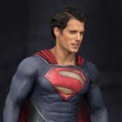 Henry Cavill on set as Superman.