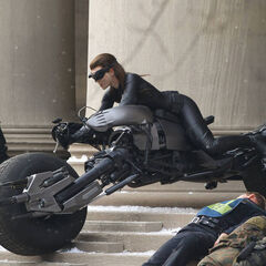 Anne Hathaway's stunt double on set as Catwoman.