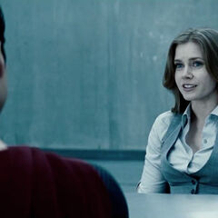 Lois Lane interviewing Superman.
