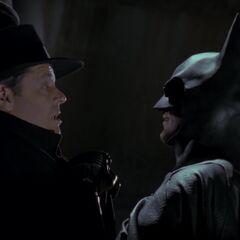 Batman confronts Napier in Axis Chemicals.