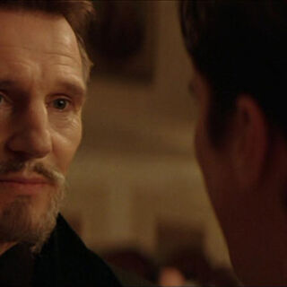 Ra's al Ghul is confronted by Bruce Wayne while invading Wayne Manor.