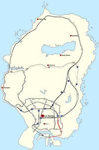 Verlauf der/des Elysian Fields Freeway (rot, zum Vergrößern auf die Karte klicken)