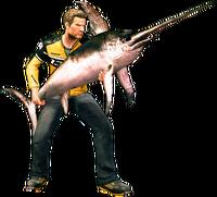 Dead rising swordfish holding