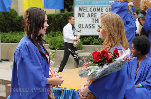 File:Anya and Holly J. talk at graduation.jpg