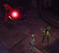 Wizard attacks zombies with Arcane Orb
