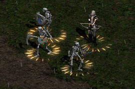 a bow-wielding necromancer and raised skeletons, all with Thorns aura