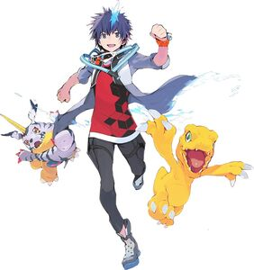 Takuto, Agumon, and Gabumon (next 0rder) b