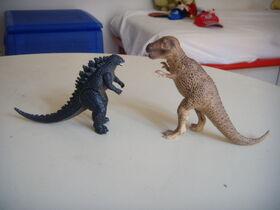 Godzilla and the tirannosaurus