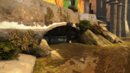 Hound pits river sewer entrance