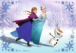 Anna,Elsa and Olaf Ice Skating Wallpaper
