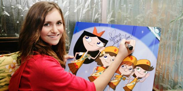 File:Alyson Stoner signs artwork of the Fireside Girls.jpg