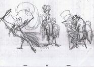 Chanticleer Reynard With Hen Sketch