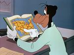 Goofy reading a map in a book