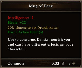 DOS Items Food Mug of Beer Stats