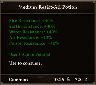 DOS Items Pots Medium Resist-All Potion Stats