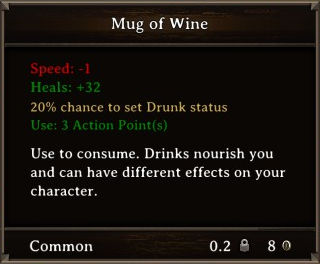 DOS Items Food Mug of Wine Stats