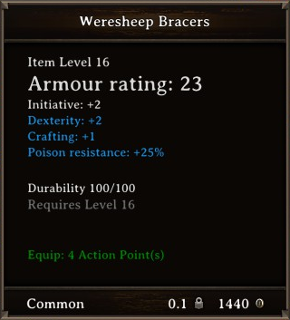 DOS Items Quest Weresheep Bracers Stats