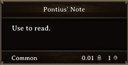 DOS Items Quest Pontius' Note