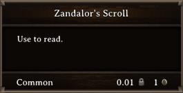 DOS Items Quest Zandalor's Scroll