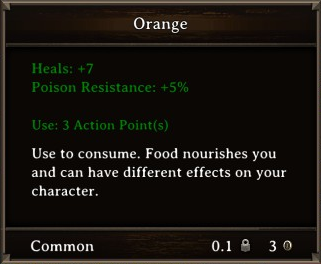 DOS Items Food Orange Stats
