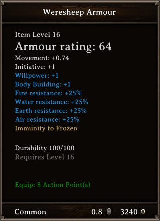 DOS Items Quest Weresheep Armour Stats