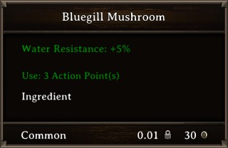 DOS Items Food Bluegill Mushroom Stats