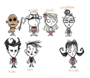 Concept art for Wilson, Willow, Wolfgang, Wendy, WX-98, Wickerbottom, and Wes