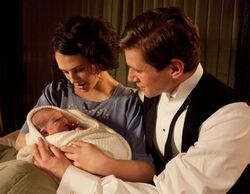 Lady Sybil, Tom Branson and their baby daughter