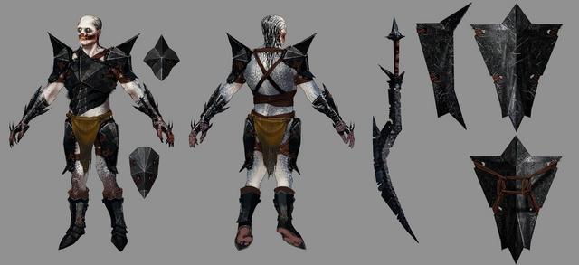 File:Hurlock & Weapons DA2 Concept Art.png