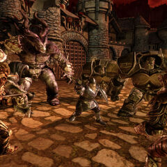 Darkspawn vs dwarf and golems.