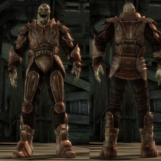 A set of Darkspawn Plate Armor for a Hurlock