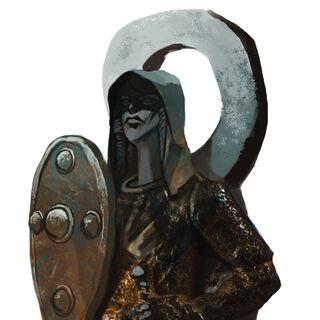 A Fereldan statue depicting Andraste as a warrior.