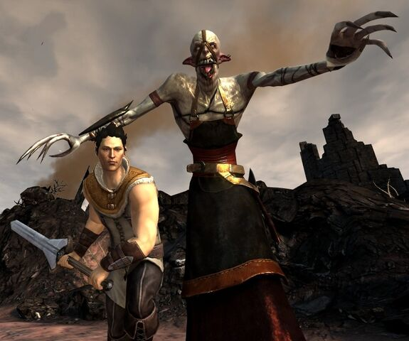 File:DA2 Emissary Apprentice - (Darkspawn spellcaster) and Carver.jpg