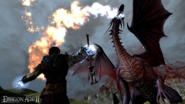 File:Hawke fighting a dragon.jpg