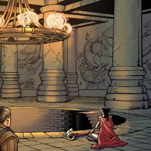 Varric and Yavana inside the temple
