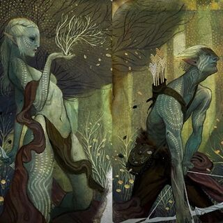 Tarot cards depicting a female and male elf in <i>Dragon Age: Inquisition</i>