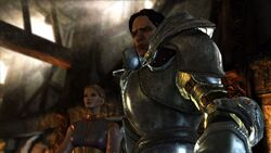 Screencap of Loghain and Anora