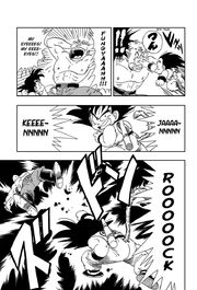 Goku attacks General Blue with the Rock, Scissors 'N' Paper combo